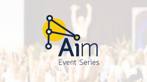 Dots connected by blue lines with a yellow circle in the background. Aim Event Series