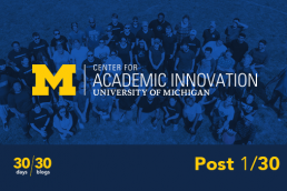 The Center for Academic Innovation logo in front of a tinted aerial photo of a group of individuals in a field with a lower-third reading