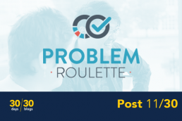 A logo for the software tool, Problem Roulette, which includes two overlaping circle, one with a check mark, in front of a faded image of two students working together and above text reading