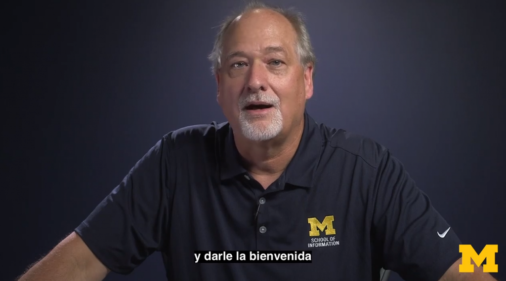 Screenshot of Professor Charles (Dr. Chuck) Severance speaking to the camera with Spanish subtitles at the bottom of the frame.