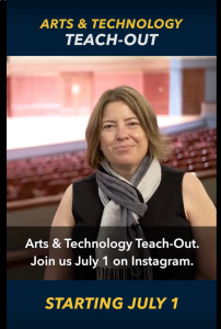 Instructor instagram story arts and technology teachout starting july 1, auditorium in background