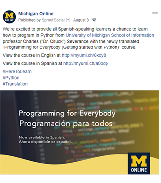 "Screenshot of a Facebook post written in English to promote the Spanish-language version of the ""Programming for Everybody"" course."