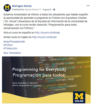 "Screenshot of a Facebook post written in Spanish to promote the Spanish-language version of the ""Programming for Everybody"" course."
