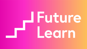 "A simple logo representing a stairway next to the words ""Future Learn"""