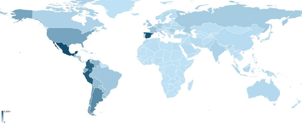 Map of learner's in Dr. Chuck's Python for Everybody course in Spanish