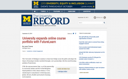 Screenshot of the The University Record with a piece about the University of Michigan partnership with FutureLearn.