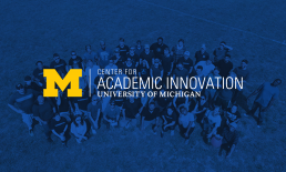 The Center for Academic Innovation logo in front of a tinted aerial photo of a group of individuals in a field.
