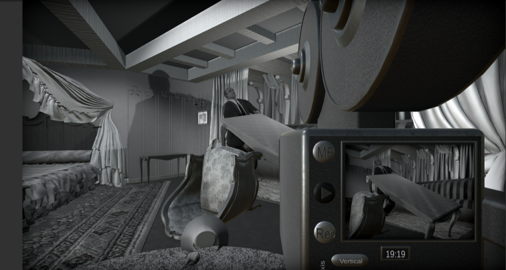 "A scene from Orson Welles' ""Citizen Kane"" from the point of view of a virtual camera that allows students to alter the action."