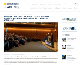 Screenshot of the Michigan Medicine Headlines story about President Schlissel's Leadership Breakfast.