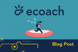 Illustration of ecoach logo with whistle and student running with backpack