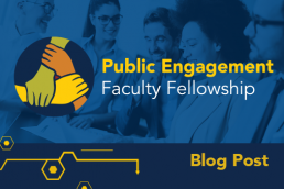 Public engagement faculty fellowship. Different colored hands interweaving.