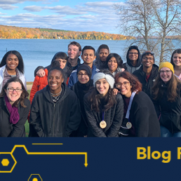 Students gathered for the youth civil rights academy with a lake in the background