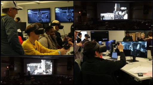 collage of images of the Citizen Kane VR experience including students with headset, monitors of immersive environment