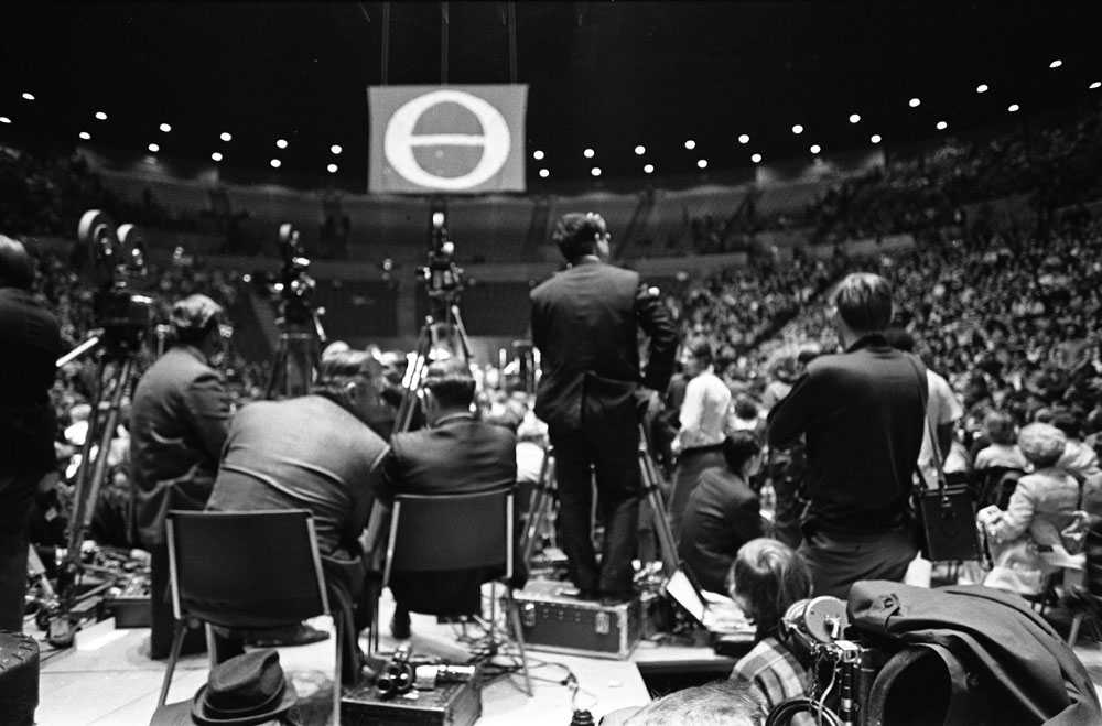View of Enact Kick-Off Rally from behind the press section, 11 March 1970