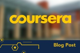 coursera logo over U-M scenic photo
