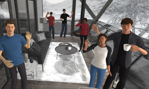 VR rendering of a class of students waving