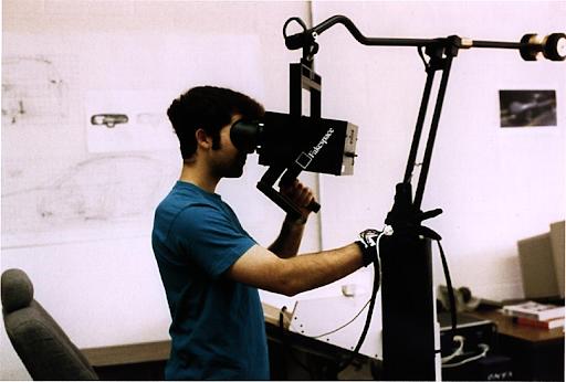 BOOM (Binocular Omni-Orientation Monitor) being used by a student