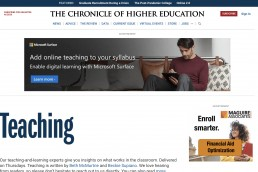 chronice of higher education screencap