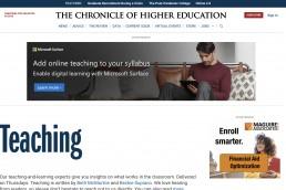 chronice of higher education screencap