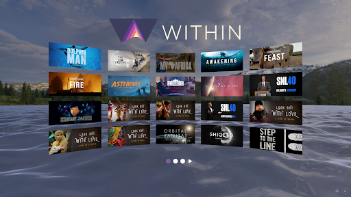 Menu of WITHIN VR application