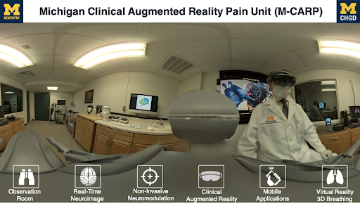 virtual landscape with heads up display showcasing various xr tools in doctor's office.