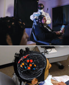 top image shows patient sitting in chair with augmented reality cap on while doctor wears hololens. Bottom image shows from top down the top of patient's head with a virtual brain map on patient's head