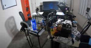 home recording studio table, equipment and monitors