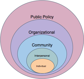 Increasingly large circles showing the levels of the socio-ecological model from smallest to largest: individual, interpersonal,community, organizational, public policy