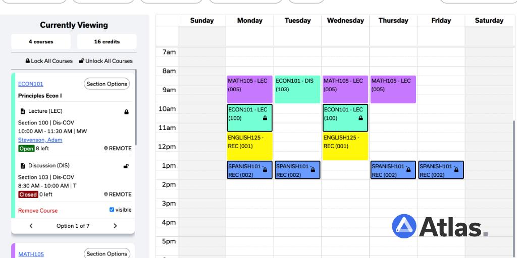 Atlas Schedule Builder interface