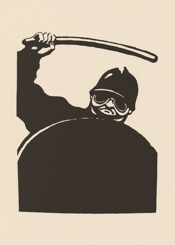 poster drawing of a man with shield wielding a baton