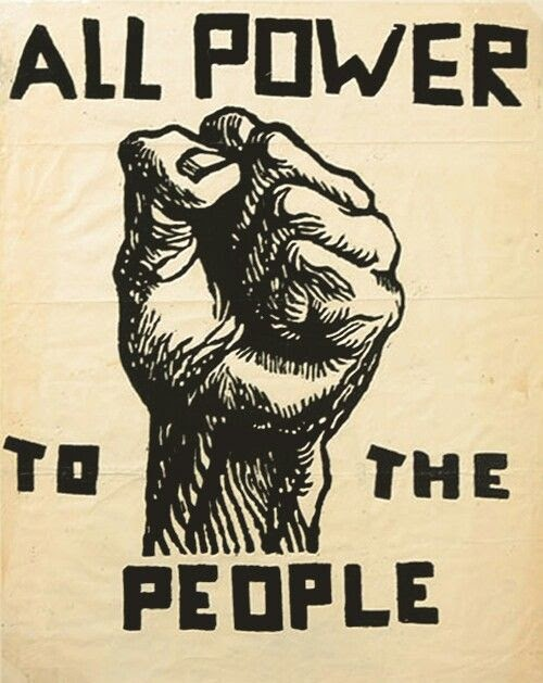 poster of a fist with message All Power to the People