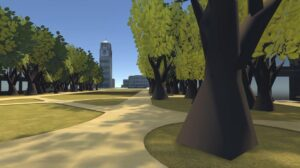 A walkway near the U-M Diag virtual space in AltspaceVR.