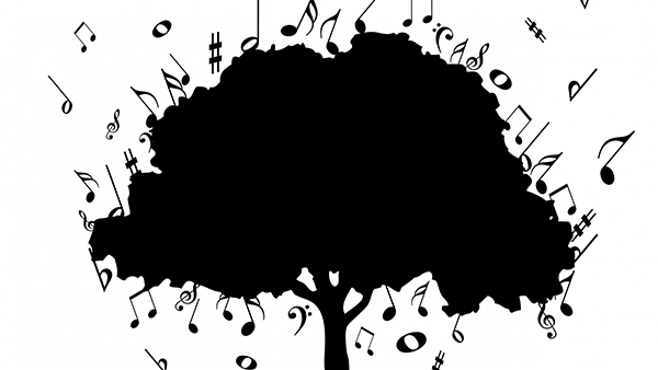 Illustration of tree surrounded by music notes