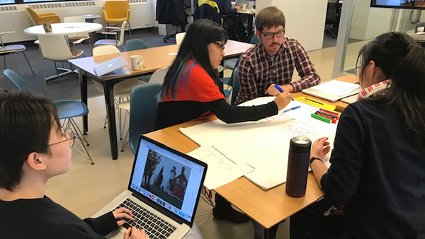 Student collaborating in the Academic Innovation space