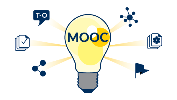 "Illustration of a lightbulb with the word ""MOOC' inside and various icons representing online degrees, Teach-Outs, MicroMasters and MasterTrack Specializations"