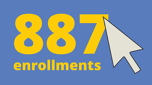 The words 887 enrollments with a large computer cursor
