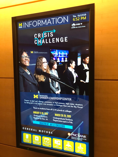 promotional signage for crisis challenge event