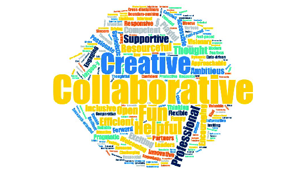 A word cloud including words such as collaborative, creative, fun, helpful, supportive, and more