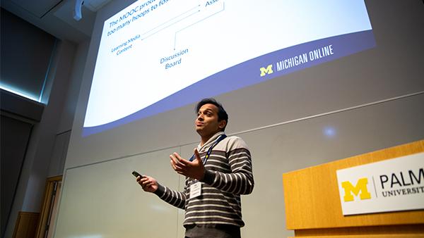 Vish Chandawarkar speaking at the academic innovation student showcase