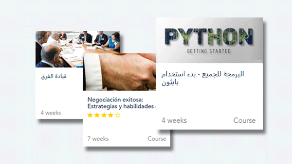 """Course cards for the Arabic translations for """"Programming for Everybody"""" and """"Leading Teams"""" and the Spanish translation of the """"Successful Negotiation"""" course."""