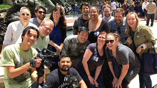 Several members of the Digital Education and Innovation Lab posing for a photo outside on University of Michigan's campus.