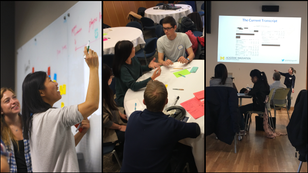 Collage of students interacting on whiteboards, in a table discussion and watching a presentation