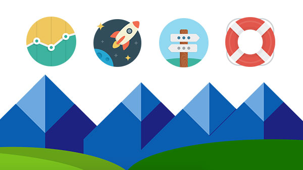 Cartoon illustration of mountains with four circular graphics representing a line graph, rocket, street signs, and lifesaver