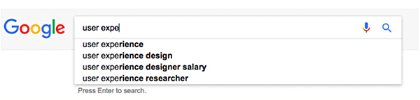 "This is a screenshot of a Google search and results. It shows ""user expe"" typed into the search bar and the autofill results as ""user experience,"" ""user experience design,"" ""user experience designer salary,"" and ""user experience researcher."""