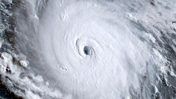 Aerial photo of a hurricane