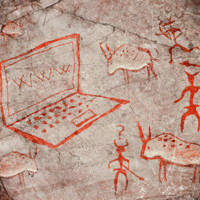 Cave painting illustration of a laptop