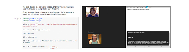 Python code on the left of the image with a chat window on the right with two students on a webcam and a chat box