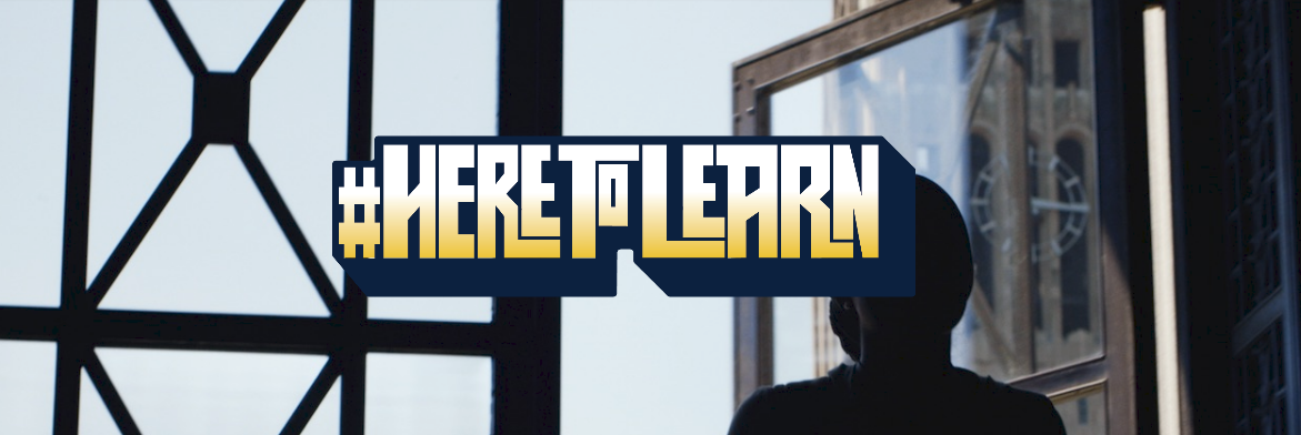 Silhouette of a young woman walking into a building with the text #HereToLearn on top.
