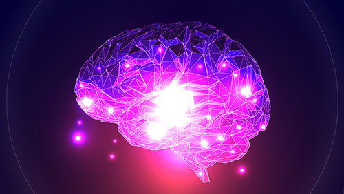Illustration of a brain will bright lights in the center
