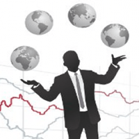 Silhouette of a man juggling globes in front of a line graph